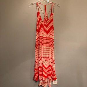 En Creme/ Anthropologie orange & white maxi dress